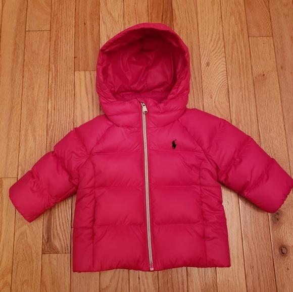 Pink Ralph Lauren baby girl puffer coat